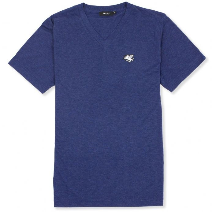 Senlak V-Neck Triblend Logo T-shirt - Navy